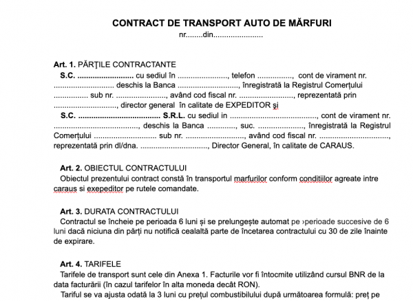 model contract de transport